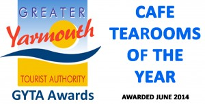 Sara's Tearooms, Great Yarmouth's GYTA 2013 'Cafe Tea Rooms of the Year'
