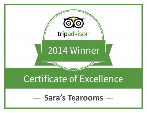 Sara's Tearooms - TripAdvisor Certificate of Excellence 2014
