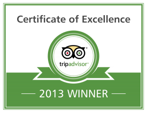 Trip Advisor - Cert of Excellence 2013