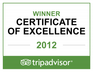 Trip Advisor Certificate of Excellence for 2012